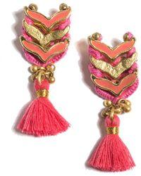 Shiraleah Enamel Belen Earrings - Red