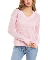 Bobi V-neck Side Slit Sweater - Pink