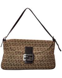 Fendi Brown Canvas & Cowhide Baguette Bag