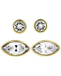 Swarovski Crystal Plated Earrings - Metallic