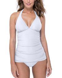 Gottex Halter V-neck Tankini Top Swimsuit - White