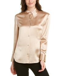 Vince Pointed Collar Silk Blouse - Grey