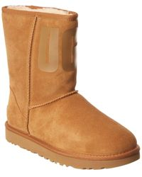 UGG Classic Short Rubber Logo Suede Boot - Brown
