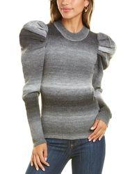 Lea & Viola Puff Sleeve Wool-blend Top - Black