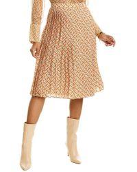 Burberry Monogram Print Pleated Silk Skirt - Orange