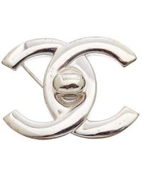 Chanel Silver-tone Large Cc Turnlock Pin - Metallic