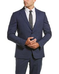 Z Zegna Z Zenga 2pc Wool Suit With Flat Pant - Blue