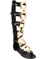 Giuseppe Zanotti Patent Gladiator Sandal - Black