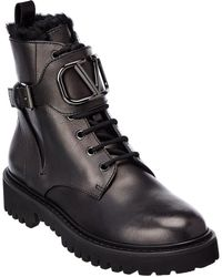 Valentino Valentino Garavani Vlogo Leather Boot - Black