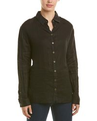 Three Dots Tie-front Linen Shirt - Black