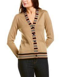 Burberry Icon Stripe Detail Wool Cardigan - Brown