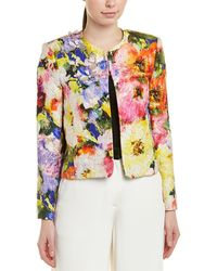 Monique Lhuillier - Jacquard Silk-blend Crop Jacket - Lyst