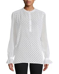 French Connection - Corsica Sheer Patterned Blouse - Lyst