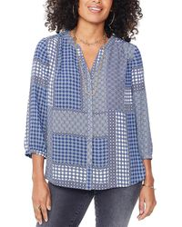NYDJ Pintuck Top - Blue