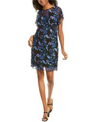 Adrianna Papell Floral Embroidered Shift Dress - Purple