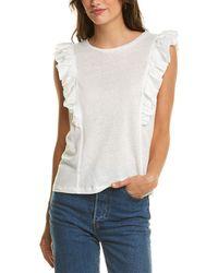 BCBGMAXAZRIA Ruffle Knit Linen-blend Top - White