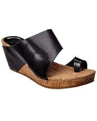 Donald J Pliner Gemmy Leather Wedge Sandal - Black