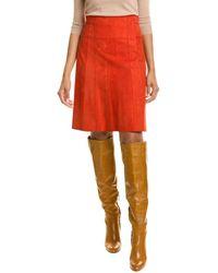 Akris Punto Suede A-line Skirt - Red