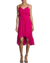 Calvin Klein - Ruffle V-neck High-low Dress - Lyst