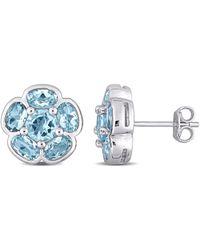 Rina Limor Silver 3.46 Ct. Tw. Blue Topaz Earrings