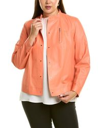 Lafayette 148 New York Plus Galicia Leather Jacket - Orange