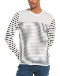 7 For All Mankind 7 For All Mankind Pieced Breton Stripe Linen & Wool-blend Crewneck Jumper - White