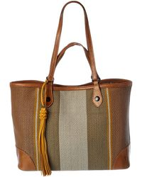 Frye Striped Canvas & Leather Shopper Tote - Brown