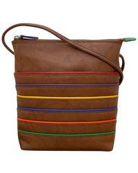 ILI Zip Top Leather Midi Sac Crossbody Purse - Brown