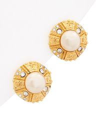 Chanel Gold-tone Crystal & Faux Pearl Button Clip-on Earrings - Metallic