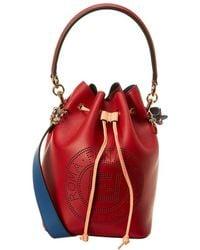 Fendi Mon Tresor Perforated Leather Bucket Bag - Red