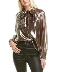 Tanya Taylor Giovanna Silk-blend Top - Metallic