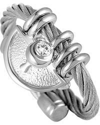 Charriol Stainless Steel Cz Ring - Metallic