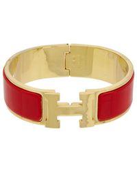 Hermès Red Enamel Narrow Clic Clac H Bracelet Lyst