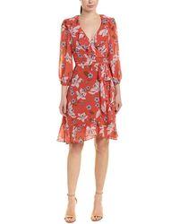 Donna Morgan Long Sleeve Chiffon Wrap Dress - Red