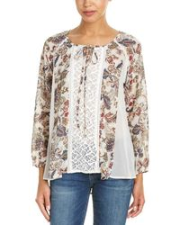 Mystree - Printed Peasant Top - Lyst