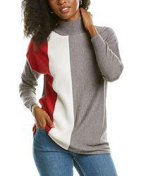 Joseph A . Striped Mock Sweater - Gray