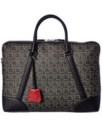 Ferragamo Gancini Monogram Leather Briefcase - Black