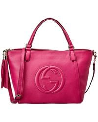 Gucci - Pink Leather Soho Tote - Lyst