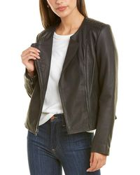 Cole Haan Asymmetrical Linen-lined Leather Jacket - Black