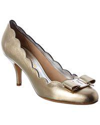 Ferragamo Carla Shell Leather Court Shoes - Metallic