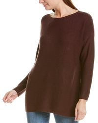 Eileen Fisher Bateau Neck Silk & Cashmere-blend Tunic - Red