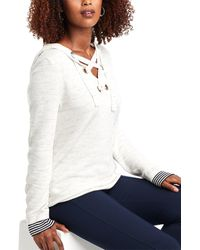 NIC+ZOE Lace-up Linen-blend Hoodie - White