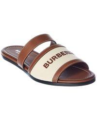 Burberry Logo Strap Canvas & Leather Sandal - Brown