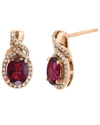 Effy Fine Jewellery 14k Rose Gold 3.36 Ct. Tw. Diamond & Rhodolite Earrings - Metallic