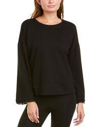 Terez Bell-sleeve Fringe Sweatshirt - Black