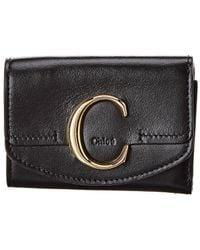 Chloé C Small Leather Card Case - Black