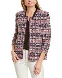 St. John Tweed Wool-blend Jacket - White