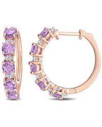 Rina Limor Rose Gold Over Silver 2.54 Ct. Tw. Gemstone Clip-on Earrings - Metallic