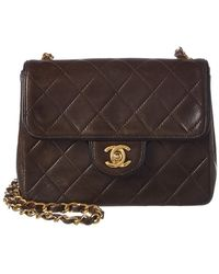 Chanel - Brown Quilted Lambskin Leather Piped Mini Single Flap Bag - Lyst