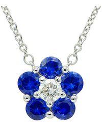 Suzy Levian 18k 1.07 Ct. Tw. Diamond Pendant Necklace - Blue